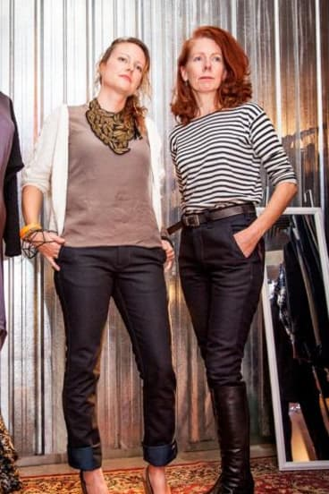 Models Jen Dubois and Karen Brennan wearing the new women's jeans by local label Corr Blimey.