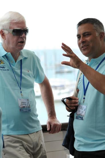 Ahmed Fahour (right) with former Australia Post CEO Graeme John.