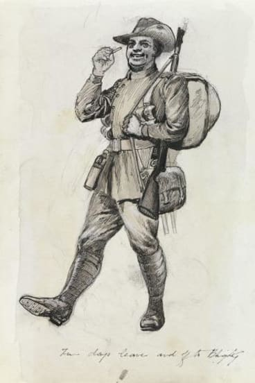 """Two days leave and off to Blighty"": A drawing by Private John Beech."