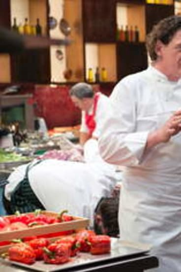 Masterchef series 1 host Marco Pierre-White (left) and guest, chef Donovan Cooke chat.