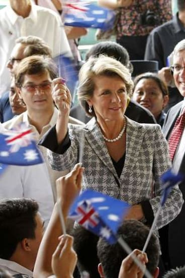 Australian Foreign Minister Julie Bishop (pictured in Manilla last month) has denied there is any wish to change the Australian flag.