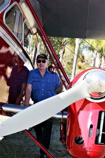 Des Porter with his Dragon. <B><A href= http://www.sunshinecoastdaily.com.au/story/2012/10/01/plane-missing-thick-cloud/ > Photo: Vicki Wood, The Sunshine Coast Daily </a></b>