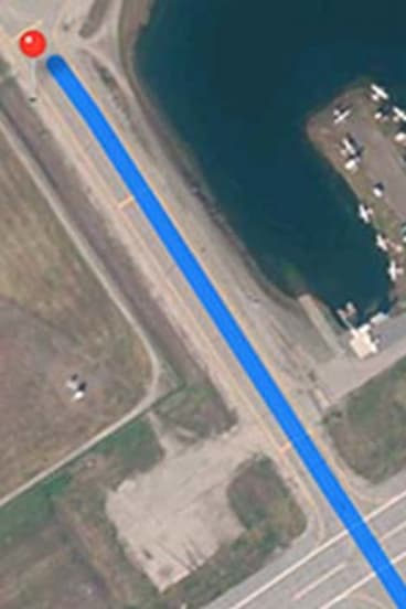 Apple Maps' faulty route to the airport.