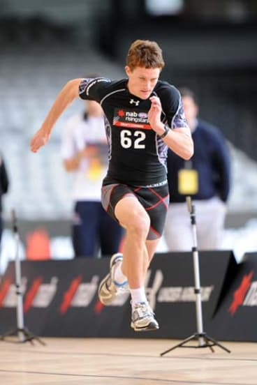 AFL Draft Combine. Jed Bews of the Geelong Falcons.