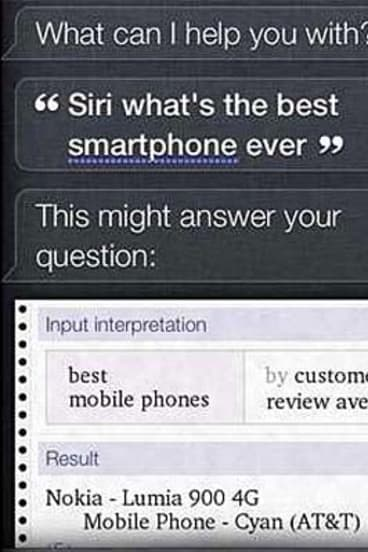 A screenshot of Siri declaring the Nokia Lumia 900 to be the best smartphone.