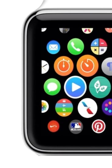The Apple Watch screen with Gibson's two-leaf icon centre right.