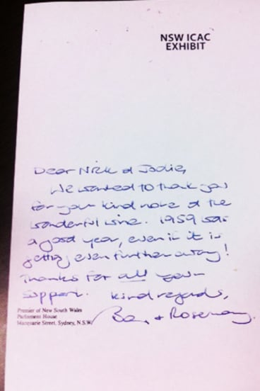 The thank you from Barry O'Farrell, acknowledging the receipt of the bottle of wine.
