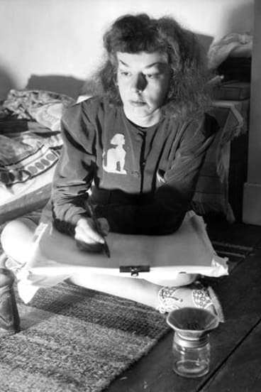 Artist Rosaleen Norton, known as the Witch of Kings Cross, at her home in 1950.