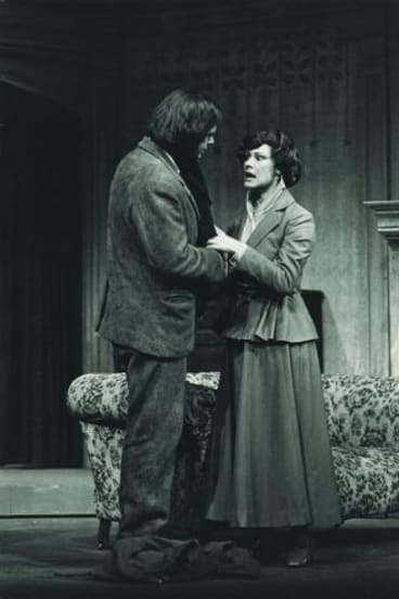 Peter Curtin and Wendy Hughes in the 1973 Melbourne Theatre Company production of <i>The Plough</i>.