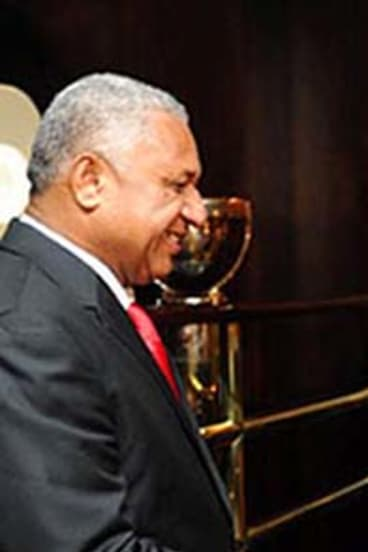 New waters … Wu Bangguo meets Fiji's Frank Bainimarama in Nandi.