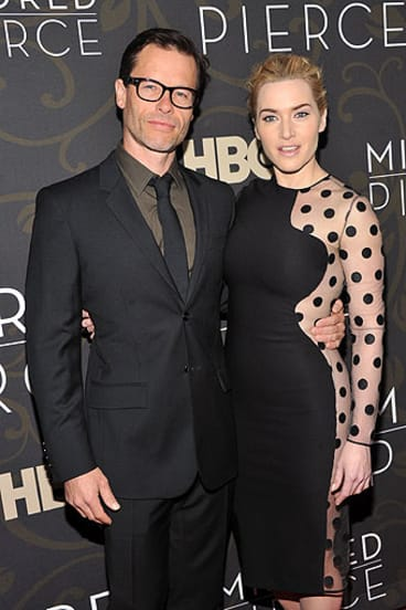 Guy Pearce with his Mildred Pierce co-star Kate Winslet.