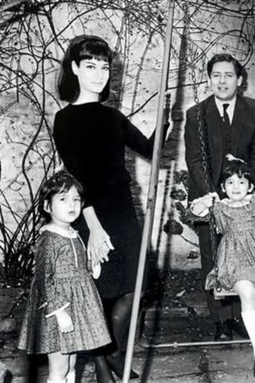 """I don't believe in looking back"" … Nigella, on the swing, with her father Nigel Lawson, mother Vanessa and sister Thomasina in 1965."