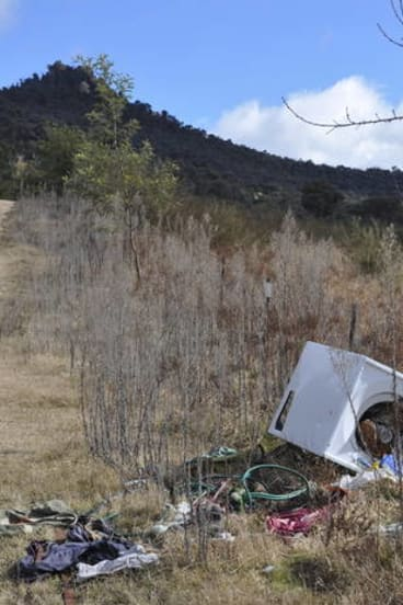 More of the dumped junk found by rock climbers.