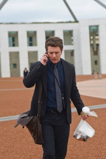 ABC TV political thriller The Code will return for a second season.  Dan Spielman as Ned Banks outside Parliament House.