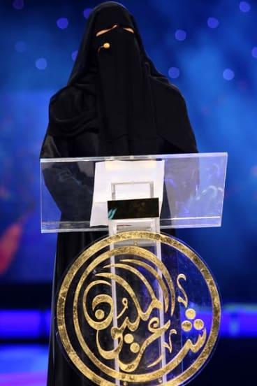 "Hissa Hilal takes part in the popular TV program ""Shaer al-Million"" in Abu Dhabi."