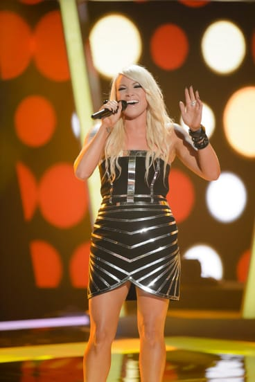 Hayley Jensen during her blind audition for The Voice 2014.