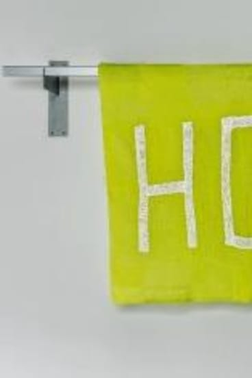 Hope: Kate Just's communally knitted banner.