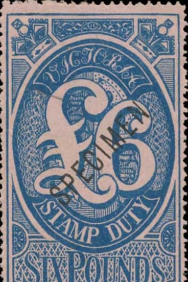 This £6 Victorian stamp duty specimen sold for $3200 in Melbourne last month.