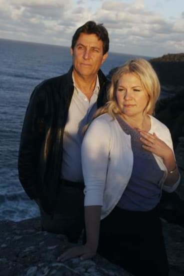 Seeking answers … Rebecca Johnson, sister of Scott Johnson, with investigative journalist Daniel Glick at the site of Scott's death at North Head, near Manly.