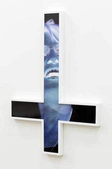 Tony Garifalakis, <i>Inverted Crucifix #1</i>, 2014. type-c print face mounted to Perspex, oak frame, 82 x 59 x 4cm,  edition 1 of 6. Courtesy the artist and Sarah Scout Presents, Melbourne, and Hugo Michell Gallery, Adelaide.