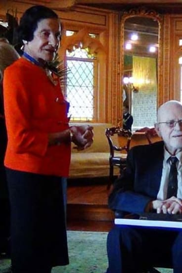 Global reputation: Gordon Barclay receives his Order of Australia honour from NSW Governor Marie Bashir.