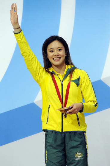 Australia's Esther Qin takes gold in the Commonwealth Games women's three metre springboard gold at Edinburgh on Saturday night.