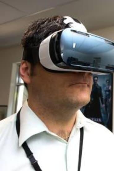 Stefan Pernar wears a Samsung Gear VR headset, with 360Heros GoPro camera rig.