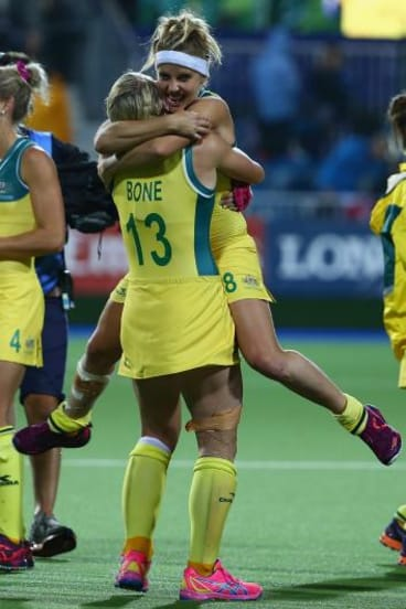 Edwina Bone and Ashleigh Nelson celebrate winning the gold medal.