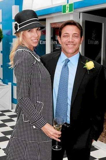Jordan Belfort with Anne Koppe at the Melbourne Cup in 2011.