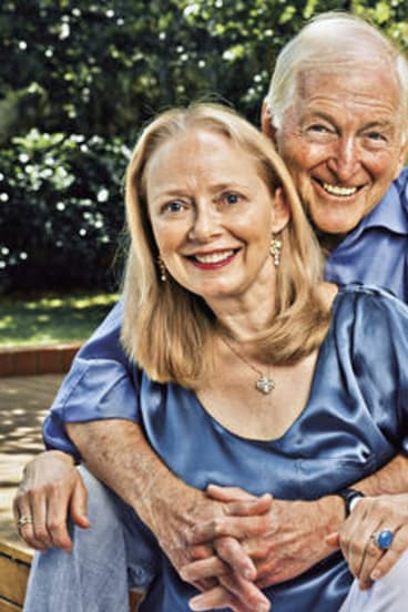 Bryce Courtenay with his second wife and former publicist, Christine Gee, in the backyard of their Canberra home.