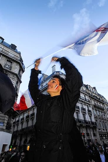 French high school student Albin Vernhes,15, outside the Socialists Party HQ.