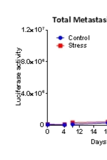 Stressed mice experienced more metastasis (cancer spreading from its original site) compared to otherwise healthy (control) mice. Source Le et al., Nature Communications.