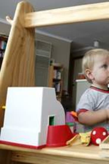 Joel Lewis, 19 months, from Palmerston and Alex Sakkas, 3, from Jerrabomberra play while the mums  are busy.