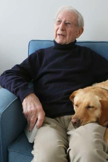 Peter Isaacson and his dog Cleopatra.