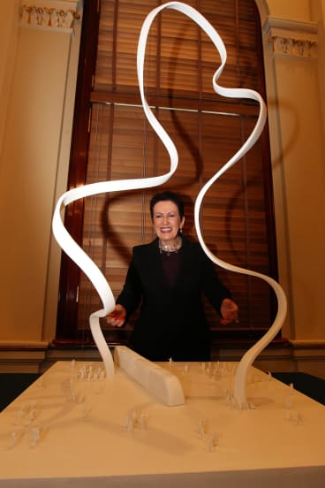 Talking point: Clover Moore with the cloud sculpture planned for George Street.
