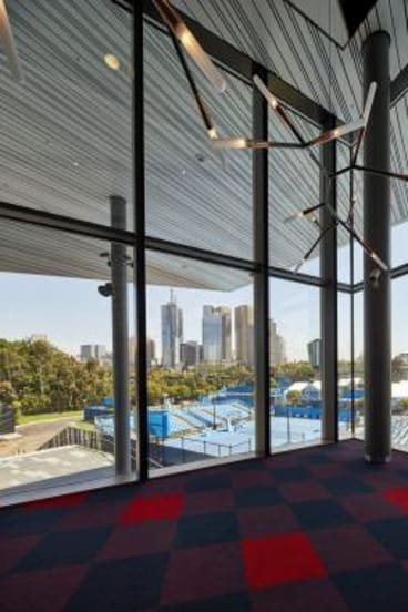 Glazed over: View of the outside courts from inside Margaret Court Arena.