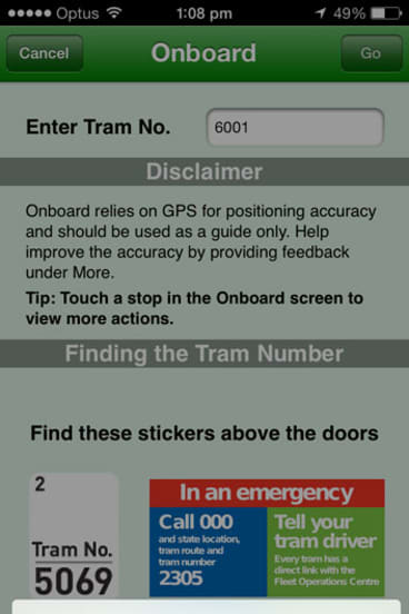 App says no ... The tram that can't be found.
