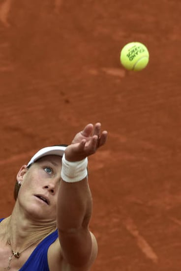 Sam Stosur's high-kicking serve has troubled Dominika Cibulkova.