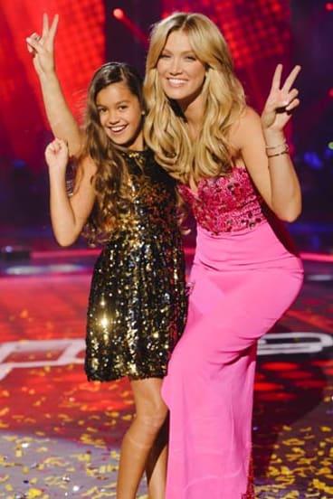 The winning team: Ten-year-old Alexa and her coach Delta Goodrem.