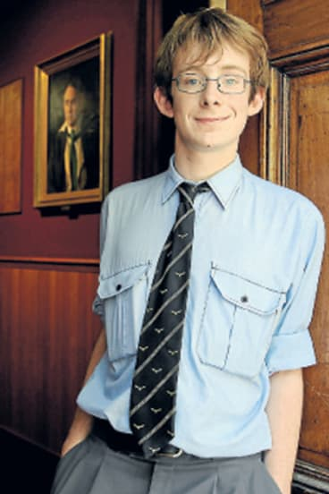 In with the old: Sydney Grammar School student Grant Kynaston enjoys reading Livy and Plato in Latin.