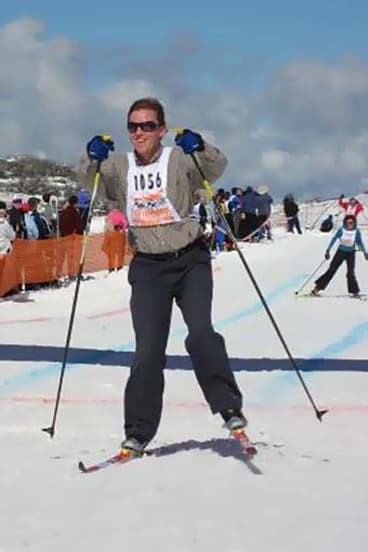 Mountain man: John Thwaites at the finish of a ski race at Falls Creek.