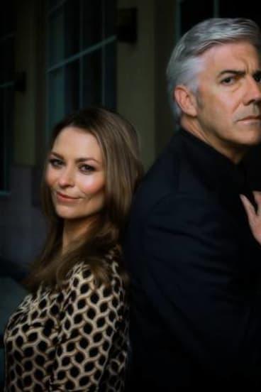Kat Stewart and Shaun Micallef in <i>Mr and Mrs Murder</i>.
