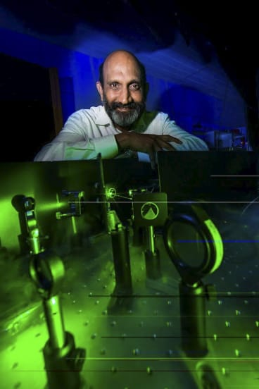 Professor Chennupati Jagadish is in his lab at the ANU Research School of Physics and Engineering.