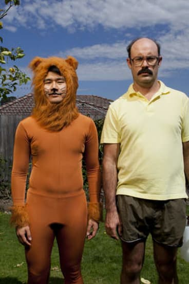 Ronny Chieng as Mr Meowgi in Sam Simmons' <i>Problems</i>.