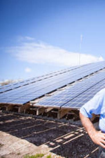 Power to the people: Peter Gash with his custom-made solar power plant.