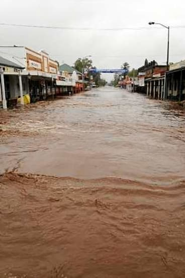 Laidley's main street under water Tuesday.