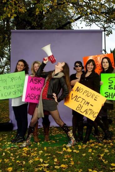 "Clem Bastow, centre, and fellow organisers of the Melbourne ""SlutWalk""."