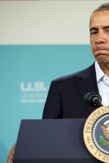 President Barack Obama pauses as he prepares to answers a question during a news conference at the leaders summit at Sunnylands.