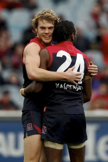 Australia excites international audiences with the talents of our indigenous AFL players such as Melbourne's Liam Jurrah, pictured here with teammate Jack Watts.