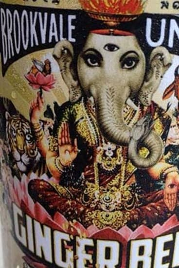 Offensive: Hindu deities on the alcoholic ginger beer label produced by a Sydney brewer.
